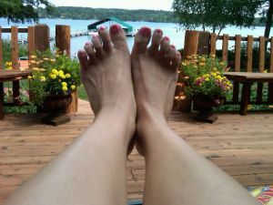 My feet on the lake.  lovely.